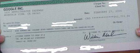 谷歌寄来的90万元支票
